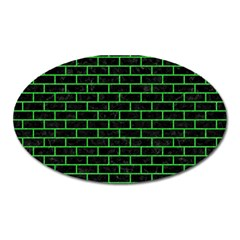 Brick1 Black Marble & Green Colored Pencil Oval Magnet by trendistuff