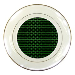 Brick1 Black Marble & Green Colored Pencil Porcelain Plates by trendistuff