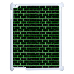 Brick1 Black Marble & Green Colored Pencil Apple Ipad 2 Case (white) by trendistuff