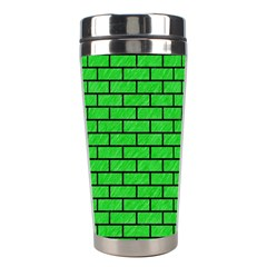 Brick1 Black Marble & Green Colored Pencil (r) Stainless Steel Travel Tumblers by trendistuff
