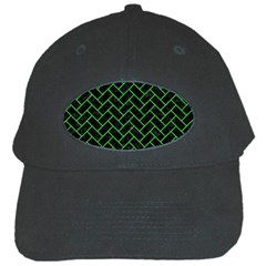 Brick2 Black Marble & Green Colored Pencil Black Cap by trendistuff