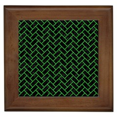 Brick2 Black Marble & Green Colored Pencil Framed Tiles by trendistuff
