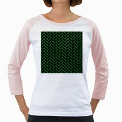 Brick2 Black Marble & Green Colored Pencil Girly Raglans by trendistuff