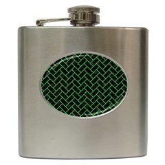 Brick2 Black Marble & Green Colored Pencil Hip Flask (6 Oz) by trendistuff