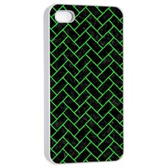 Brick2 Black Marble & Green Colored Pencil Apple Iphone 4/4s Seamless Case (white) by trendistuff