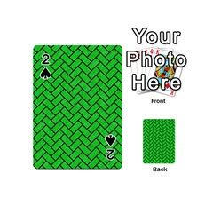 Brick2 Black Marble & Green Colored Pencil (r) Playing Cards 54 (mini)  by trendistuff