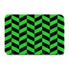 Chevron1 Black Marble & Green Colored Pencil Plate Mats by trendistuff