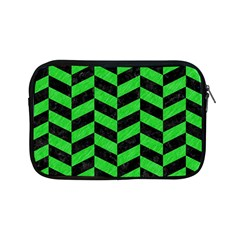 Chevron1 Black Marble & Green Colored Pencil Apple Ipad Mini Zipper Cases by trendistuff