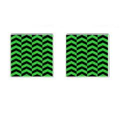 Chevron2 Black Marble & Green Colored Pencil Cufflinks (square) by trendistuff