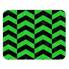 Chevron2 Black Marble & Green Colored Pencil Double Sided Flano Blanket (large)  by trendistuff