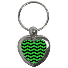 Chevron3 Black Marble & Green Colored Pencil Key Chains (heart)  by trendistuff
