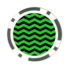 Chevron3 Black Marble & Green Colored Pencil Poker Chip Card Guard by trendistuff