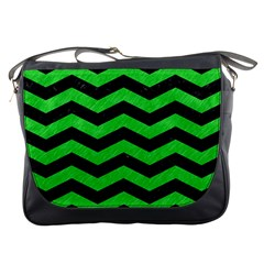 Chevron3 Black Marble & Green Colored Pencil Messenger Bags by trendistuff