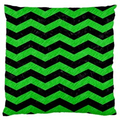 Chevron3 Black Marble & Green Colored Pencil Large Flano Cushion Case (two Sides) by trendistuff