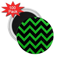 Chevron9 Black Marble & Green Colored Pencil 2 25  Magnets (100 Pack)  by trendistuff