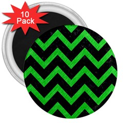 Chevron9 Black Marble & Green Colored Pencil 3  Magnets (10 Pack)  by trendistuff