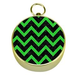 Chevron9 Black Marble & Green Colored Pencil Gold Compasses by trendistuff