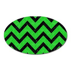 Chevron9 Black Marble & Green Colored Pencil (r) Oval Magnet by trendistuff
