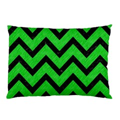 Chevron9 Black Marble & Green Colored Pencil (r) Pillow Case