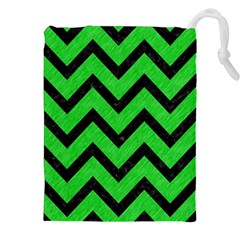 Chevron9 Black Marble & Green Colored Pencil (r) Drawstring Pouches (xxl) by trendistuff