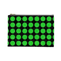 Circles1 Black Marble & Green Colored Pencil Cosmetic Bag (large)  by trendistuff