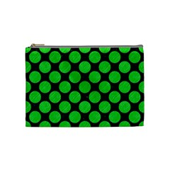 Circles2 Black Marble & Green Colored Pencil Cosmetic Bag (medium)  by trendistuff