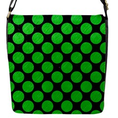 Circles2 Black Marble & Green Colored Pencil Flap Messenger Bag (s) by trendistuff