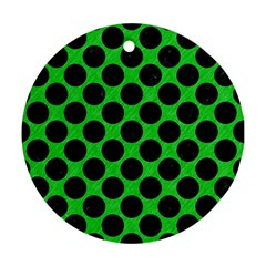 Circles2 Black Marble & Green Colored Pencil (r) Round Ornament (two Sides) by trendistuff