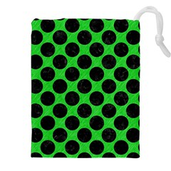 Circles2 Black Marble & Green Colored Pencil (r) Drawstring Pouches (xxl) by trendistuff
