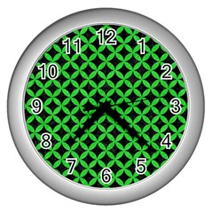 Circles3 Black Marble & Green Colored Pencil Wall Clocks (silver)  by trendistuff