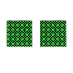Circles3 Black Marble & Green Colored Pencil Cufflinks (square) by trendistuff