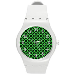 Circles3 Black Marble & Green Colored Pencil (r) Round Plastic Sport Watch (m) by trendistuff