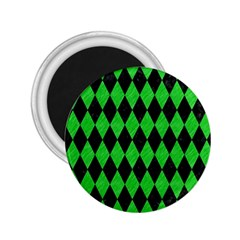 Diamond1 Black Marble & Green Colored Pencil 2 25  Magnets by trendistuff