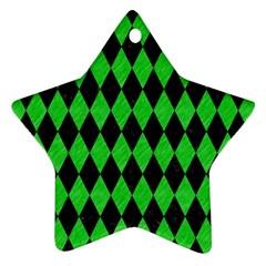 Diamond1 Black Marble & Green Colored Pencil Ornament (star) by trendistuff
