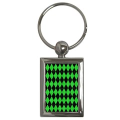 Diamond1 Black Marble & Green Colored Pencil Key Chains (rectangle)  by trendistuff