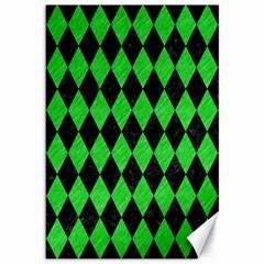 Diamond1 Black Marble & Green Colored Pencil Canvas 12  X 18   by trendistuff