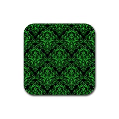 Damask1 Black Marble & Green Colored Pencil Rubber Square Coaster (4 Pack)  by trendistuff