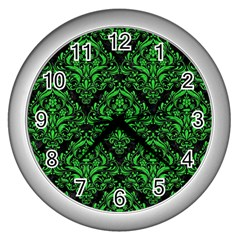 Damask1 Black Marble & Green Colored Pencil Wall Clocks (silver)  by trendistuff