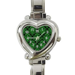Damask1 Black Marble & Green Colored Pencil Heart Italian Charm Watch by trendistuff