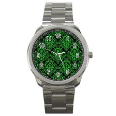 Damask1 Black Marble & Green Colored Pencil Sport Metal Watch by trendistuff
