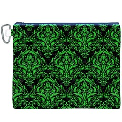 Damask1 Black Marble & Green Colored Pencil Canvas Cosmetic Bag (xxxl) by trendistuff
