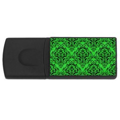 Damask1 Black Marble & Green Colored Pencil (r) Rectangular Usb Flash Drive by trendistuff