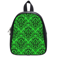 Damask1 Black Marble & Green Colored Pencil (r) School Bag (small) by trendistuff