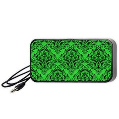 Damask1 Black Marble & Green Colored Pencil (r) Portable Speaker by trendistuff