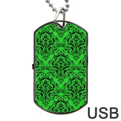 Damask1 Black Marble & Green Colored Pencil (r) Dog Tag Usb Flash (one Side) by trendistuff