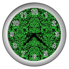Damask2 Black Marble & Green Colored Pencil Wall Clocks (silver)  by trendistuff
