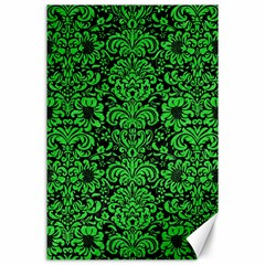Damask2 Black Marble & Green Colored Pencil Canvas 24  X 36  by trendistuff