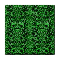 Damask2 Black Marble & Green Colored Pencil Face Towel by trendistuff