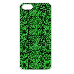 Damask2 Black Marble & Green Colored Pencil Apple Iphone 5 Seamless Case (white) by trendistuff