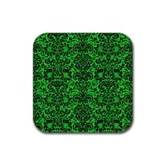 Damask2 Black Marble & Green Colored Pencil (r) Rubber Square Coaster (4 Pack)  by trendistuff